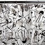 Sin in Linen Black and White Pin up Print Fabric Shower Curtain