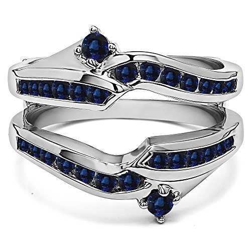 Silver Ying Yang Inspired Anniversary Ring Guard with Sapphire (0.79 ct. twt.) by TwoBirch