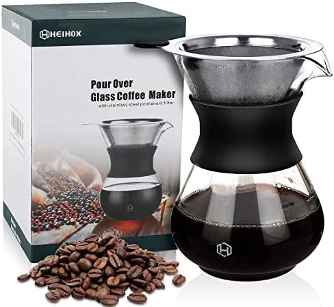 pour over coffee dripper HEIHOX Glass Pour over Coffee Maker Brewer Glass Carafe