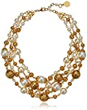 "Ben-Amun Jewelry Gold Ball and Pearl Multi-Strand Statement Necklace, 13"" long"