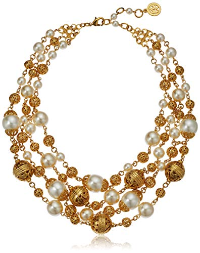 Ben-Amun Jewelry Gold Ball and Pearl Multi-Strand Statement Necklace, 13