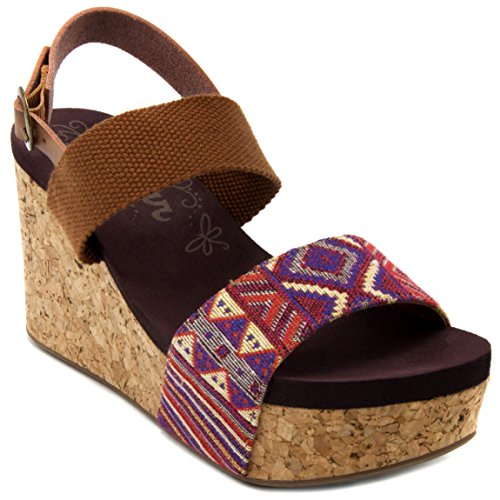 Sugar Women's Jinxy Slingback Cork Platform Wedge Sandal with Tribal Aztec Print and Buckle 8.5 Cognac Tribal