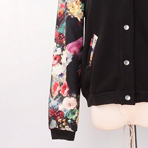 Florale Femme Blouson Manches Courte Bomber Imprim Longue HANMAX de Automne ou Printemps Baseball Noir Uniforme fZ47q7wUx