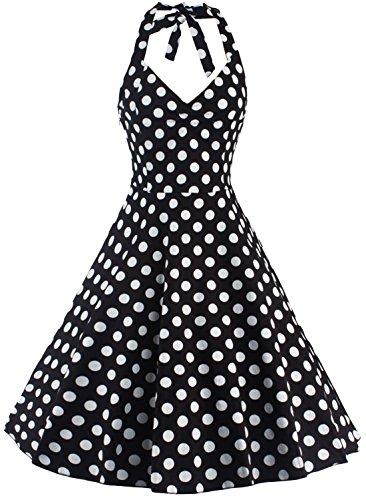 U-shot Vestidos Para Mujer Sin Mangas Lunares 1950S Vintage dama de honor Cóctel Fiesta Halter Swing Vestido Negro
