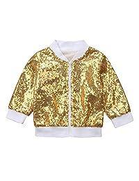 Lefyira Kids Toddler Baby Girls Boys Sequin Jackets Bomber Long Sleeve Lightweight Zipper Coats Outwear