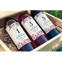 ● SET of 5 ● CUSTOM Wedding Milestones Wine Labels, PERSONALIZED Wine Bottle Labels, Wedding Gifts, Guest Book Wine Labels, Bridal Shower Gift Wine Basket, Engagement Gifts, WATERPROOF, A140-MS5