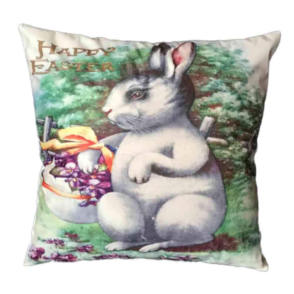 Pgojuni Easter Sofa Bed Home Decoration Festival Pillow Cover Easter Eggs Pillow Case Cushion Cover (I)