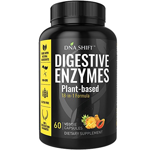 DNA Shift® Digestive Enzymes 18-in-1 NATURAL proteolytic enzyme supplements with protease amylase & lipase – gluten and lactose digestion – best for bloating constipation gas relief | essential papaya