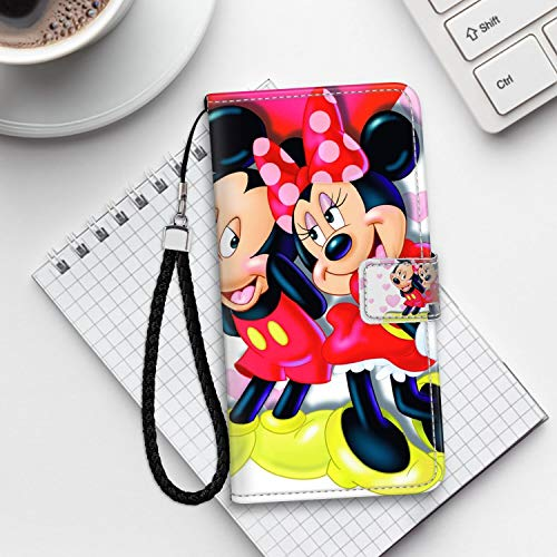 DISNEY COLLECTION iPhone 6S Wallet Cover Case (2015)/iPhone 6 Case (2014) [4.7 Version] Mickey and Minnie in Love Hd Wallpaper for Mobile Phones and laptops Drop Protection