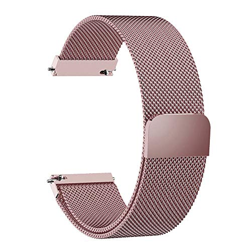 wpOP59NE Watch Band for Samsung Galaxy Watch Active Gear S3 Magnetic Metal Mesh Wrist Strap 20/22mm Rose Red 22mm
