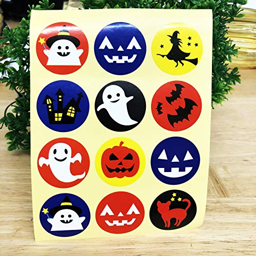 PEPPERLONELY Assorted 12 Styles Halloween Kawaii Seal Stickers,