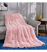 """Ompaa Faux Fur Adults Weighted Blanket 20lbs for Queen Size Bed 60"""" x 80"""" Pink, Fuzzy Plush Sherp..."""