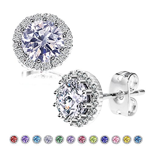 Earring Stone Birthstone - Herinos Birthstone Stud Earrings, Copper Plated Cubic Zirconia Earrings for Women Diamond/April Herinos