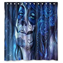 """Innovation Print Design Face Paint Sugar Skull And Flowers Shower Curtain Mildew Waterproof Polyester Fabric Bathroom Shower Curtain 66"""" x 72"""" Inch"""