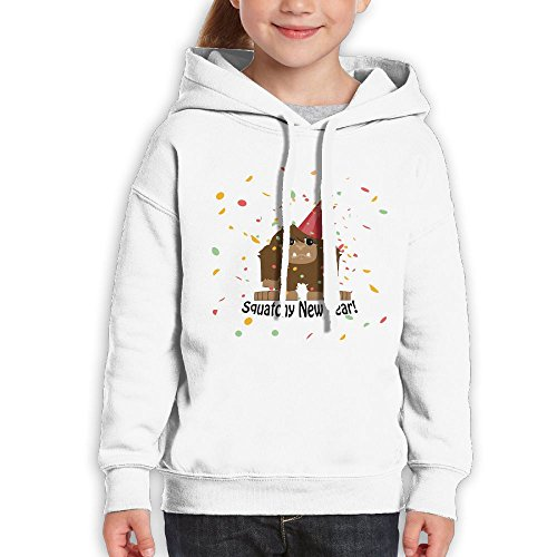Anraglan Squatchy New Year Girls Long Sleeve Pullover Hooded Sweatshirt White Size XL (Creed Soap White)