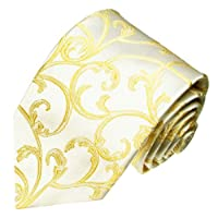 LORENZO CANA - Luxury Italian 100% Silk Tie Woven Ivory Wedding Necktie -84461
