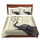 Duvet Cover Brushed Twill Toddler DiaNoche Designs Unique Home Decor Bedding Ideas by Madame Memento - Elephant Butterflies