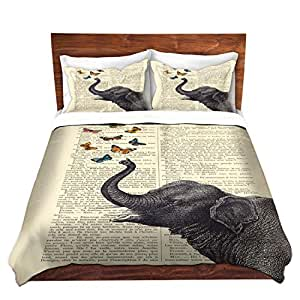 """DiaNoche Designs Madame Memento-Elephant Butterflies Brushed Twill Home Decor Bedding Cover, 3 Queen/ Full Duvet Only 88"""" x 88"""""""