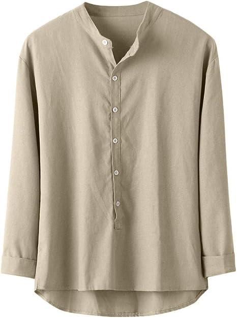 Wodechenshan Camisas Casual para Hombre,Moda Hombres Camiseta Caqui Chemise Botón Casual De Lino Y Algodón Camiseta Manga Larga Blusa Superior Hombres Camiseta Hombre De Negocios: Amazon.es: Deportes y aire libre