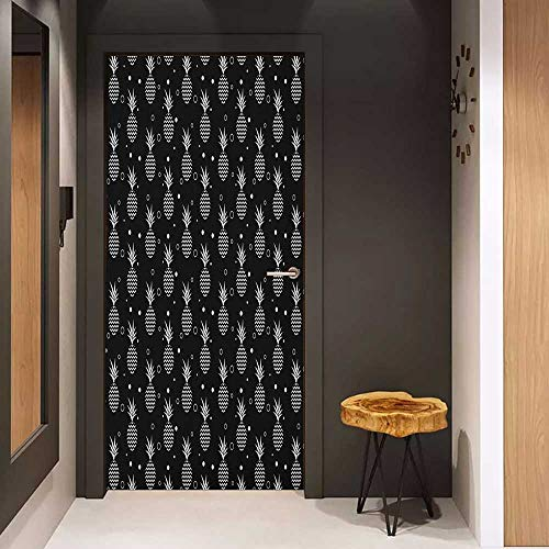 (Onefzc Automatic Door Sticker Tropical Monochrome Pineapples with Abstract Zigzag Design on a Greyscale Background Easy-to-Clean, Durable W35.4 x H78.7 Black and White)