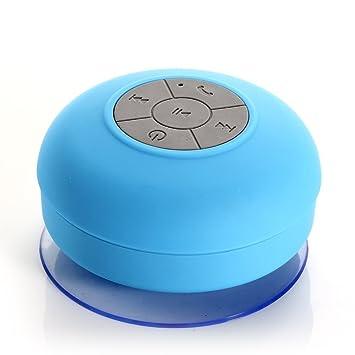 QUMOX Mini Parlante Bluetooth impermeable Micrófono Baño Ducha para iPhone 5s 6 6 Plus Nexus 5 6 7 iPod laptop tablet iPad (Color Azul): Amazon.es: ...