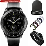 Samsung Galaxy Watch Smartwatch 42mm Stainless Steel Black (SM-R810NZKAXAR) with Wireless Charging Base Dock, 5pc Nylon Replacement Straps, Tempered Glass & 1 Year Extended Warranty