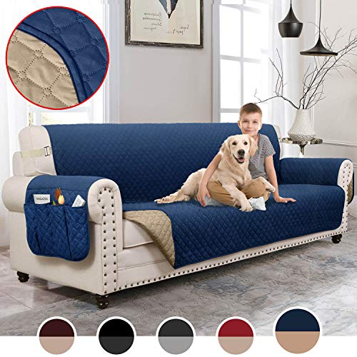 MOYMO Reversible Oversized Sofa Cover, Durable Sofa Slipover with Pockets, Couch Covers for 3 Cushion Couch, Machine Washable Sofa Covers for Dogs, Children, Pets,Kids(Sofa:Navy Blue/Brown)