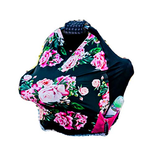 (Coddle Luv Premium Soft Stretchy Infant Carrier Cover All-in-One Reversible Infant Car Seat Cover (Floral))