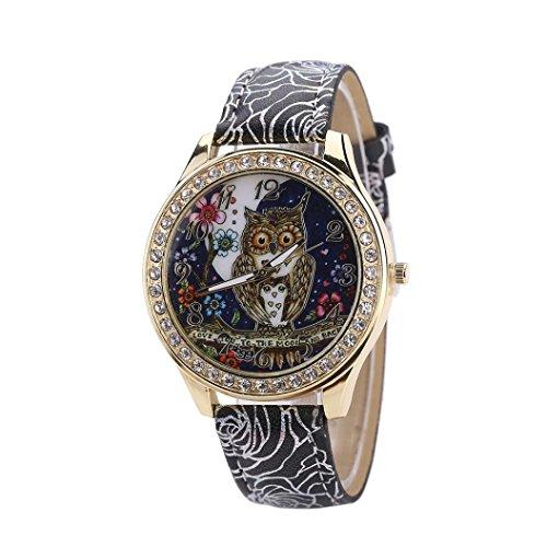 Diamond Outdoor Clock - Cartoon Owl Wrist Watch,Vovomay Couple's Universal Diamond Quartz Watch Dial Clock (Black)