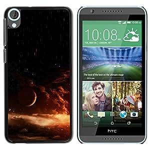Caucho caso de Shell duro de la cubierta de accesorios de protección BY RAYDREAMMM - HTC Desire 820 - Universe Star Explosion Orange Galaxy Sun