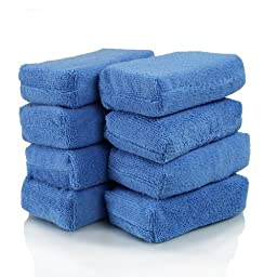 Pack of 12 - Blue Premium Grade Microfiber Rectangular Applicator Pads