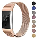 Swees For Fitbit Charge 2 Bands Metal Small & Large (5.5' - 9.9'), Milanese Stainless Steel Magnetic Replacement Wristband for Fitbit Charge 2 Women Men, Silver, Champagne, Rose Gold, Black, Colorful