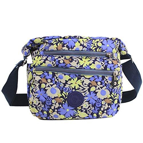 Bag Cross Lightweight Purple Travel Messenger Zip Handbag Shoulder Womens Multiple Pocket floral Over Holiday x8aqfYAY