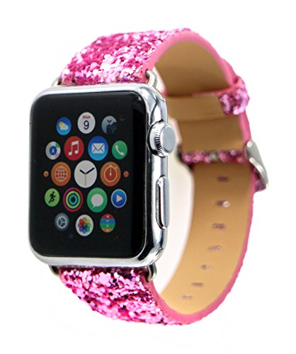 BouQue for Apple Watch Sparkle Band, Bling Glitter Soft Leather Replacement Wristband Strap for Apple iWatch Series 3, Series 2, Series 1 (Pink, 38mm) ()