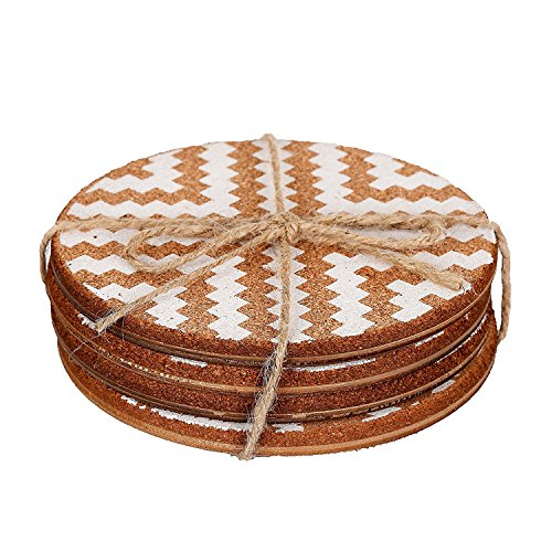 NIKKY HOME Absorbent Round Cork Coasters for Drinks 6