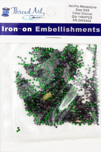 SS6 (2mm) Olivine Hot Fix Rhinestones 10 Gross (1440 stones/pkg) Hotfix Rhinestones - 32 Colors and 4 sizes (Olivine Rhinestone)