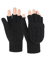 Novawo Women Winter Warm Wool Blend Knitted Convertible Fingerless Gloves with Mitten Cover