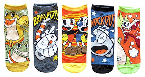 Cuphead Mugman Ribby Croaks Juniors/Womens 5 Pack Ankle Socks Shoe Size 4-10 from Hyp