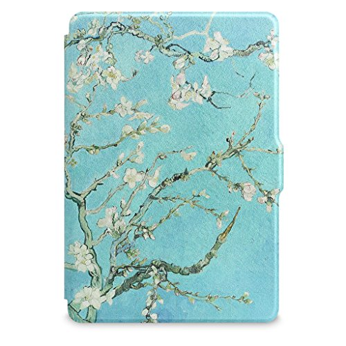 Walnew Protective case for Amazon Kindle Voyage(2014) The Thinnest and Lightest Colorful Painting PU Leather Cover with Auto Sleep/Wake Function,Tree and Flower by WALNEW (Image #8)'