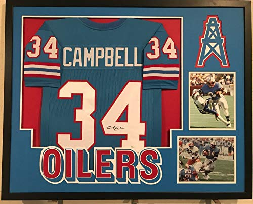 Earl Campbell Autographed Signed Custom Framed Houston Oilers Jersey 2 Memorabilia - JSA Authentic