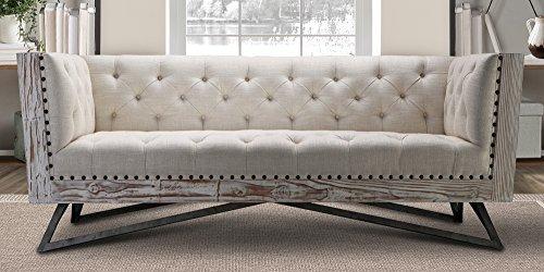Sofa Traditional Metal (Armen Living LCRE3CR Regis Sofa in Cream and Gunmetal Finish)