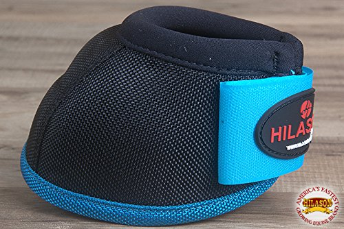 HILASON SML HORSE BALLISTIC OVERREACH NO TURN BELL BOOTS PAIR BLACK TURQUOISE by HILASON (Image #6)