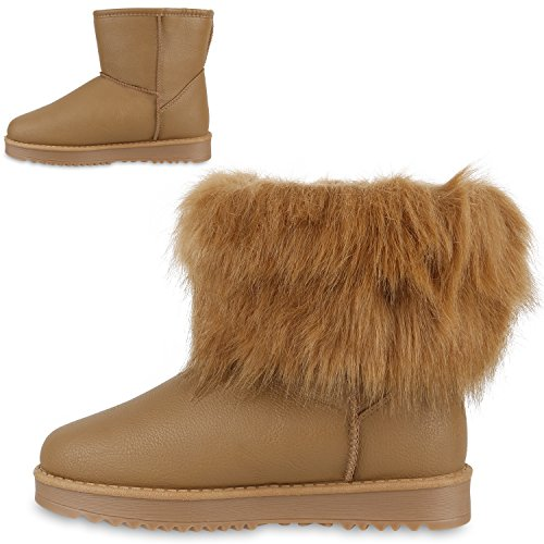 Stiefelparadies Damen Schlupfstiefel Winter Schuhe Kunstfell Warm Gefütterte Stiefel Glitzer Boots Animal Print Profilsohle Stiefeletten Flandell Total Hellbraun
