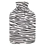 Bodico, Zebra Print Novelty Gift Cozy Hot Water Bottle, 2L, Black, White