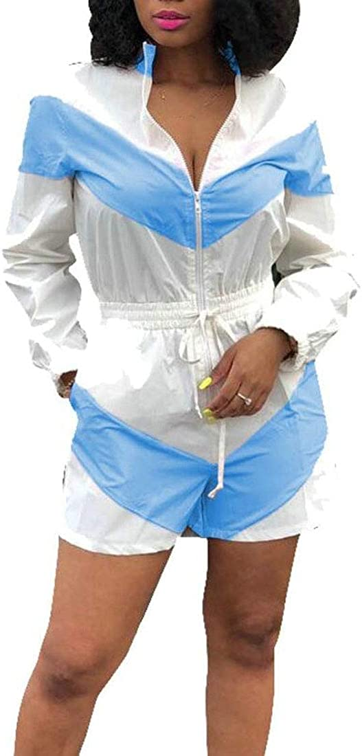 Joe Wenko Women Stand Neck Drawstring Zipper Contrast Color Comfort Pocket Playsuit Jumpsuits
