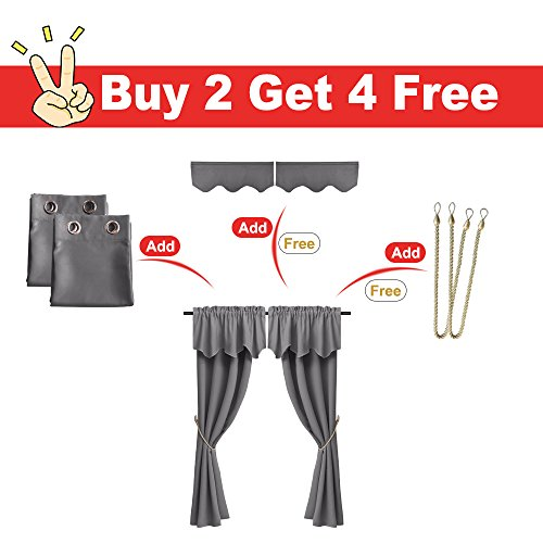 RYB HOME Grey Blackout Curtains & Valances Panels Window Thermal Insulated Grommet Curtains for Bedroom, Gray (2 Panels of W 52 by L 63 inch, 2 Valances of W 52 by L 18 inch, 2 Ropes)