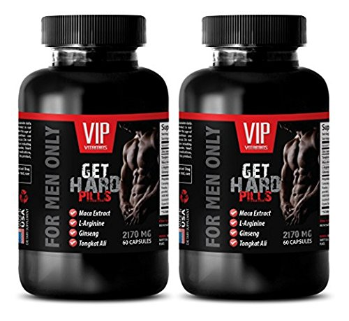 libido booster for men sex - GET HARD PILLS 2170Mg - FOR MEN ONLY - maca dietary supplement - 2 Bottles (120 Capsules) by VIP VITAMINS