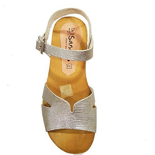 Sandalia piel cava grabada. PLanta anatomica. Talla 38