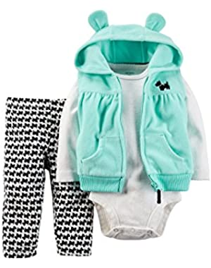 Carters Hoodie, Bodysuit and Pants - Baby Girls n