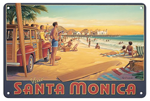 8in x 12in Vintage Tin Sign - Visit Santa Monica - California - Santa Monica Pier by Kerne Erickson